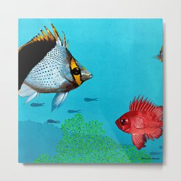 Butterfly & Bigeye fishes Metal Print