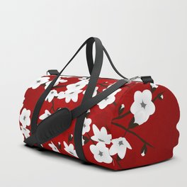 Red Black And White Cherry Blossoms Duffle Bag