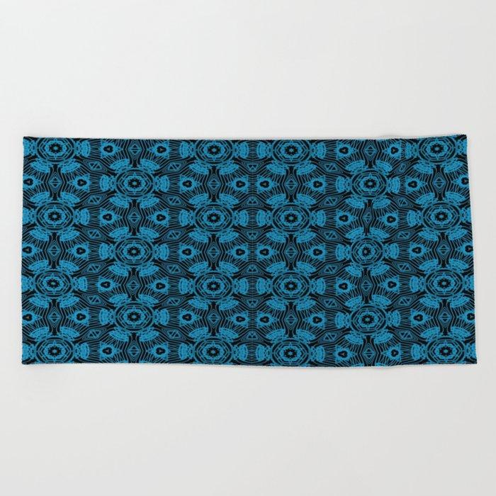 Black and Blue String Art 4406 Beach Towel