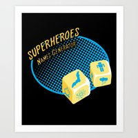 super heroes Art Prints featuring Super-Heroes-Name-Generator by sergio37