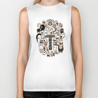 fandom Biker Tanks featuring Helmets of fandom - respect the head! by CaptainLaserBeam