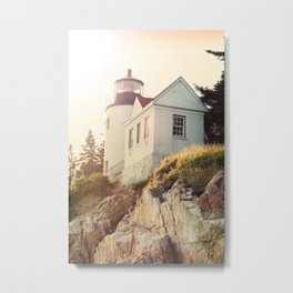 Cliff Lighthouse Metal Print