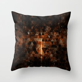 Gold beam in geometric sparkly universe Throw Pillow