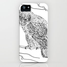 Owl In Tree (Print) iPhone Case