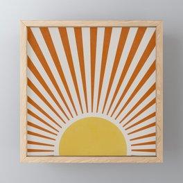 Yellow orange retro sunlight Framed Mini Art Print