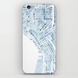 Map Seattle Washington Blueprint watercolor map iPhone Skin