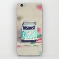 vw bus iPhone & iPod Skins featuring Aqua VW Bus with Roses by Anna Dykema Photography