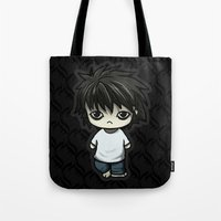 death note Tote Bags featuring Death Note L by zelasart.com