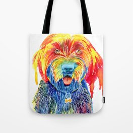 Colorful Tie Dye Wirehaired Pointing Griffon Tote Bag