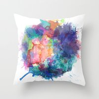 water colour Throw Pillows featuring Water Colour Kaleidoscope by a little Piece of Pie