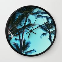 palm trees Wall Clocks featuring Palm Trees by Alexandra Str