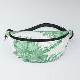 Palm Leaves and Hibiscus Tropical Green Fanny Pack