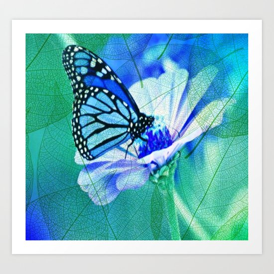 Butterfly, Flower And Leaves Art Print