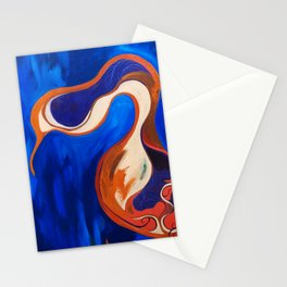 Abstract Blue and Orange Bird Stationery Cards