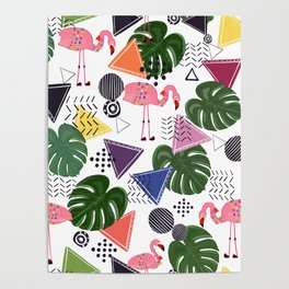 Flamingos With Geometric Shapes and Leaves Tropic Pattern Poster