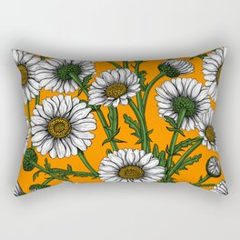 Daisies on orange Rectangular Pillow