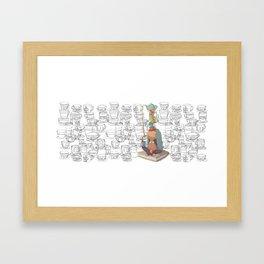 el equilibrio de las tazas Framed Art Print