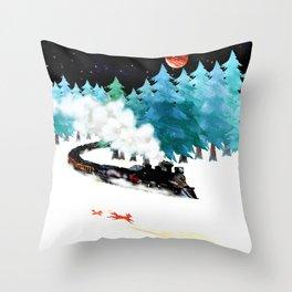 fox and steam train Throw Pillow