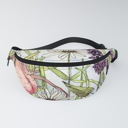 Lady Slipper Orchid Woodland Wildflower Watercolor Fanny Pack