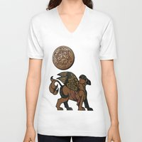 mythology V-neck T-shirts featuring Gryphon New Age Mythology Folk Art by BohemianBound