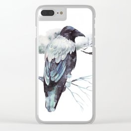 Cryptical Crows In The Whispering Winter Woods Clear iPhone Case