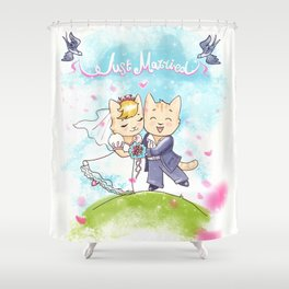 Just Married Cats Shower Curtain