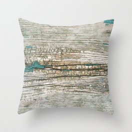 Rustic Wood Ages Gracefully - Beautiful Weathered Wooden Plank - knotty wood weathered turquoise pa Throw Pillow