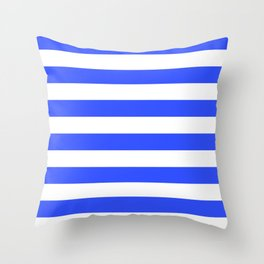 Even Horizontal Stripes, Blue and White, L Throw Pillow