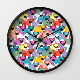 Colored Pugs Pattern Wall Clock