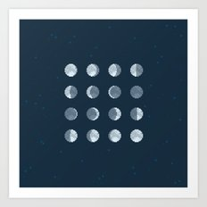 8bit Moon Phases Art Print