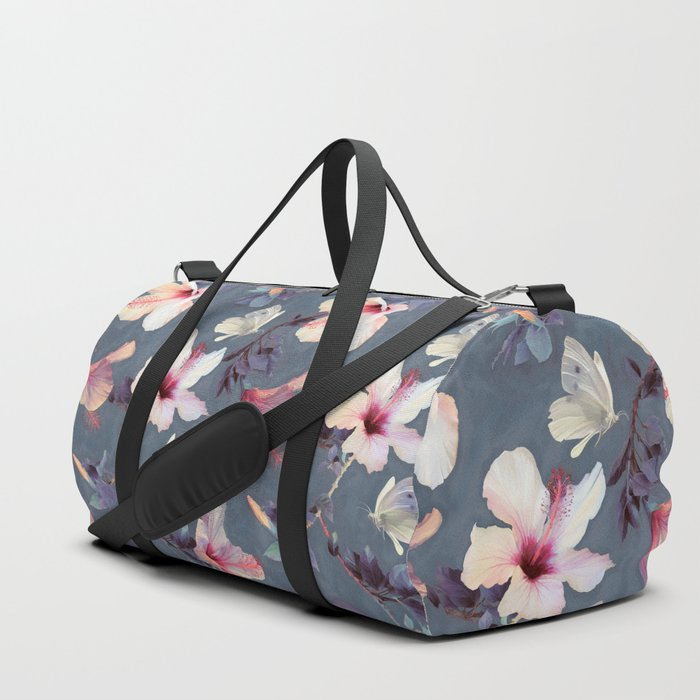 Butterflies and Hibiscus Flowers - a painted pattern Duffle Bag
