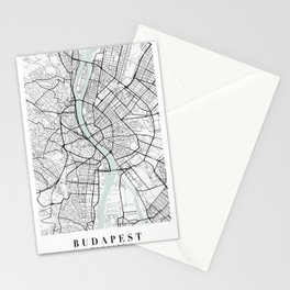 Budapest Hungary Blue Water Street Map Stationery Cards