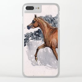 Arabian horse watercolor art Clear iPhone Case