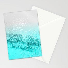 Silver Gray Aqua Teal Ocean Glitter #1 #shiny #decor #art #society6 Stationery Cards