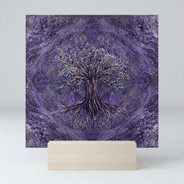 Tree of life -Yggdrasil Amethyst and silver Mini Art Print