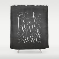 brooklyn Shower Curtains featuring Brooklyn by Molly Suber Thorpe