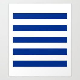 Air Force blue (USAF) -  solid color - white stripes pattern Art Print