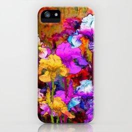 Yellow & Violet Purple Fantasy Iris  Painting iPhone Case