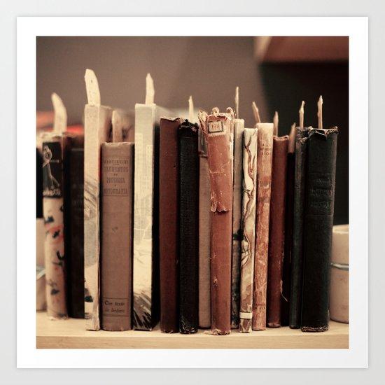 Old Books (brown) Art Print