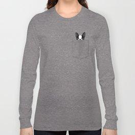 Pocket Boston Terrier - Black Long Sleeve T-shirt