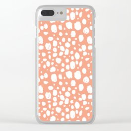 Painterly Dots in Peach and White Clear iPhone Case