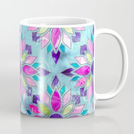 Blue and Purple Stained Glass Flower Pattern Coffee Mug