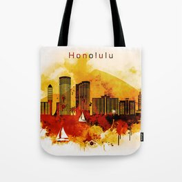 Honolulu Hawaii Red Yellow Skyline Tote Bag