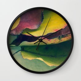 Fall Leaves II - Yellow, Lime Green, Red Purple Wall Clock