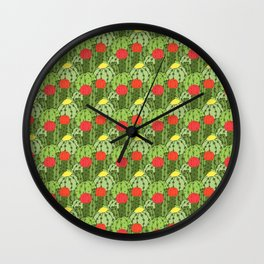 Green and Red Flowering Cactus Pattern Wall Clock