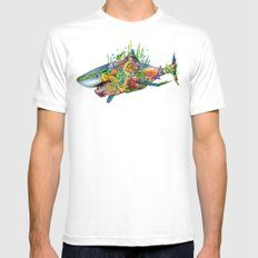 Colored Sea Shark Mens Fitted Tee X-LARGE White