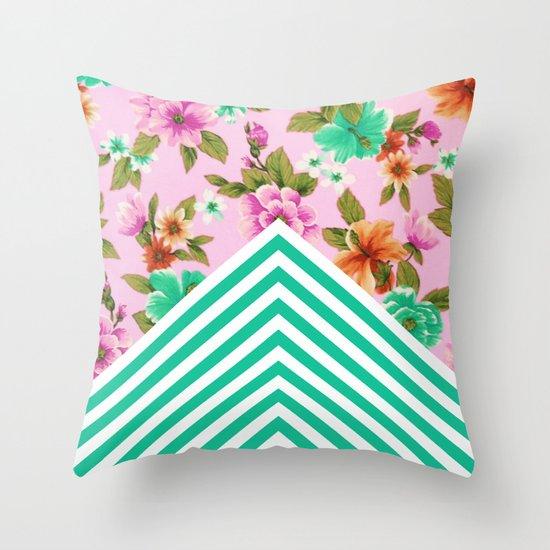 Tropical Floral Chevron Throw Pillow