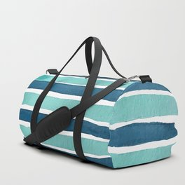 Aqua Teal Stripe Duffle Bag