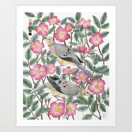 Doves & Wild Roses Art Print