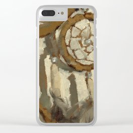 Still Life Impressionist Oil Painting of Native American Dreamcatcher in Brown, White and Grey Clear iPhone Case